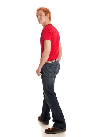 red jeans: Young Man in Red Shirt Stock Photo
