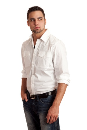 Man in White Shirt and Jeans