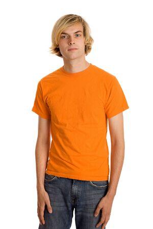 tee shirt: Man in OrangeShirt