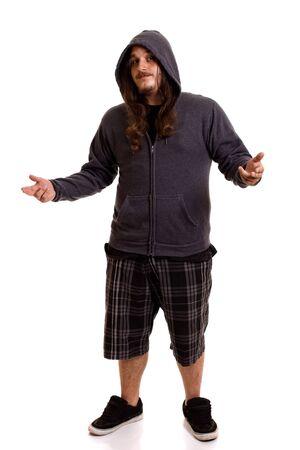 causasian: Man With Long Hair Stock Photo