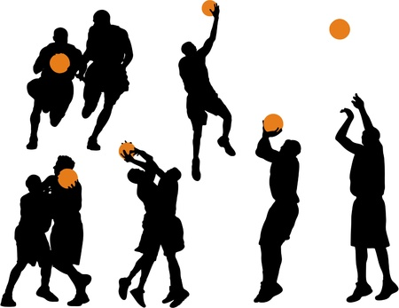 basketball game: Basketball Vector Silhouettes