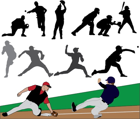 baseball catcher: Baseball Vector Silhouettes