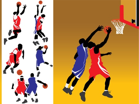 Basketbal Vector Silhouetten Stock Illustratie