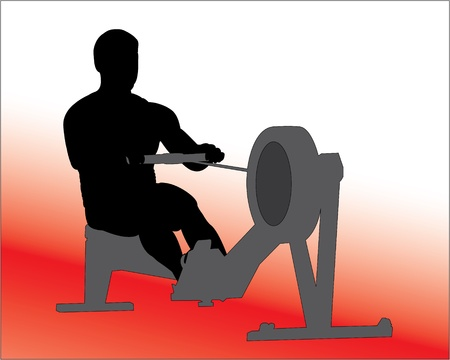 Rowing Machine Vector Silhouette Ilustrace