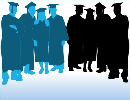 Graduates Vector Silhouettes Illustration