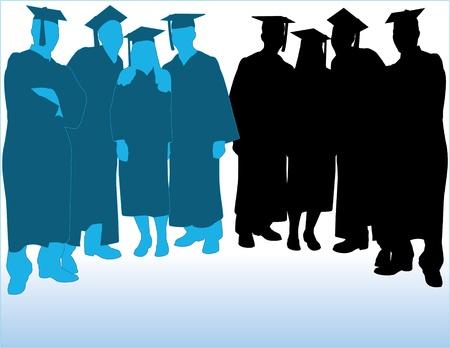 graduados: Los graduados Vector Silhouettes Vectores