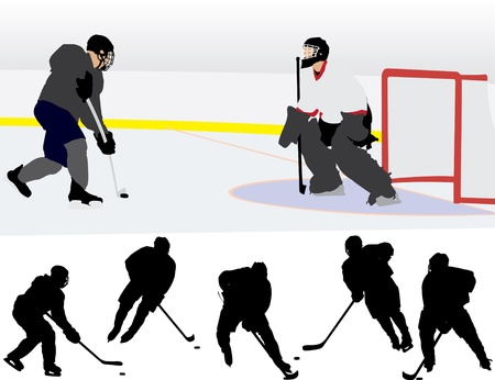 hockey goal: Ice Hockey Silhouettes  Illustration