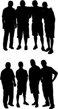 Two silhouettes of groups of four adult men Vector