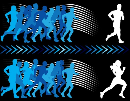 athletics track: Breaking away from the pack. Vector silhouettes of runners.