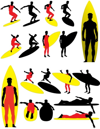 Silhouettes of surfers. Color and black versions. Vector