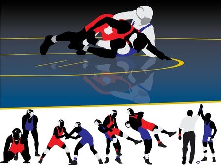 greco roman  roman: Set of wrestling action silhouette illustrations