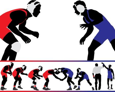 amateur: Conjunto de ilustraciones de lucha silueta de acción