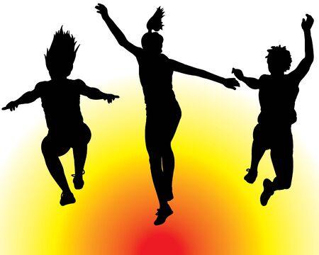 Women Jumping Vector  Ilustração