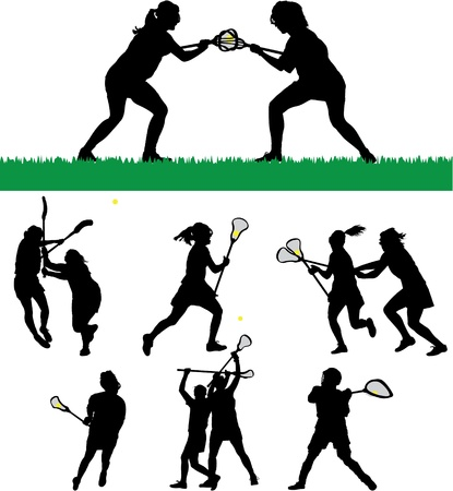 womens: Womens Lacrosse Vector Silhouettes