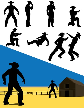 ranches: Silhouettes of western cowboys in action. Illustration