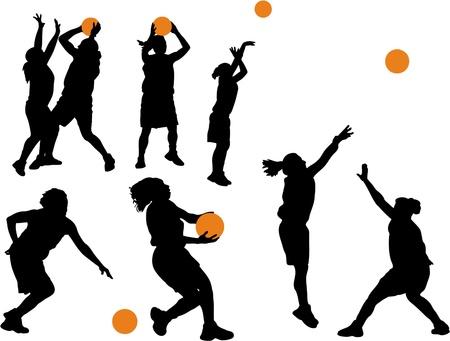 canestro basket: Pallacanestro delle donne vettoriali Silhouettes Vettoriali