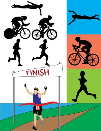 A silhouette set of triathletes in action. Vector