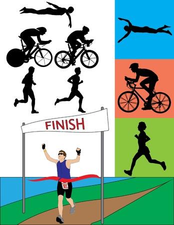 Een silhouet set van triatleten in actie. Stock Illustratie