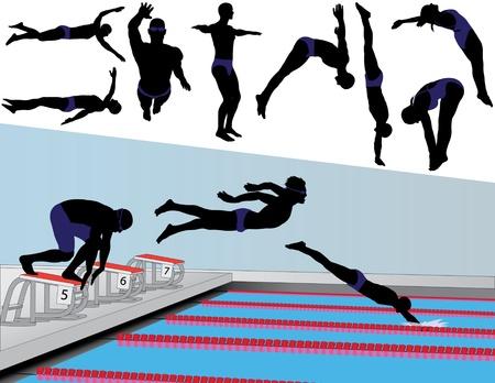 Vector silhouetten van competitieve zwemmers en duikers.