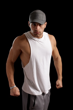 confrontational: Muscular Man Stock Photo
