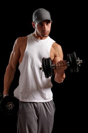 baseball cap: Man Lifting Weights