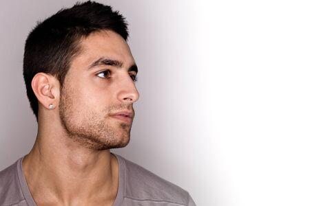 face close up: Young Man Headshot Stock Photo