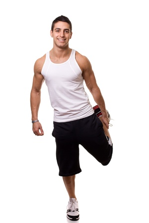 stretch out: Standing Quadricep Stretch Stock Photo