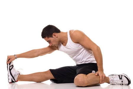 stretches: Sitting Hamstring Stretch Stock Photo