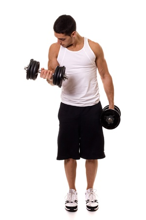man working out: Biceps Curl