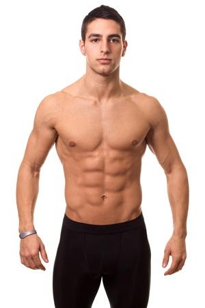 descamisados: Shirtless Man Atl�tico Foto de archivo