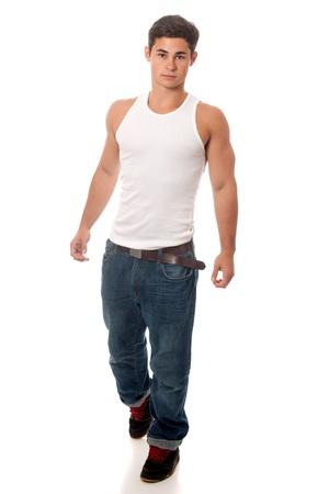 undershirt: Casual young man. Studio shot over white. Stock Photo