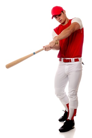 Baseball player with bat. Studio shot over white.