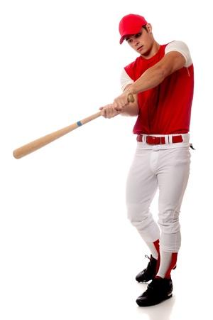 beisbol: Jugador de b�isbol con el palo. Estudio de disparo sobre el blanco. Foto de archivo