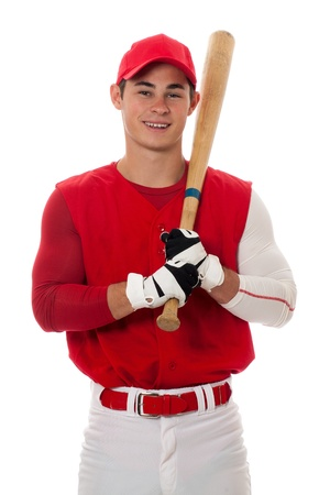 Baseball player with bat. Studio shot over white.