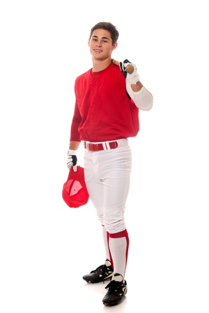 Baseball player with bat. Studio shot over white. photo