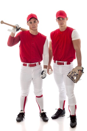 Two baseball teammates. Studio shot over white. photo