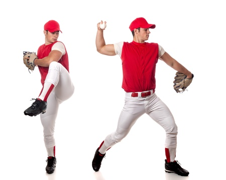 baseball glove: Baseball player  Studio shot over white  Stock Photo