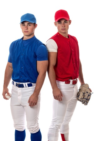 Two baseball opponents. Studio shot over white. Reklamní fotografie
