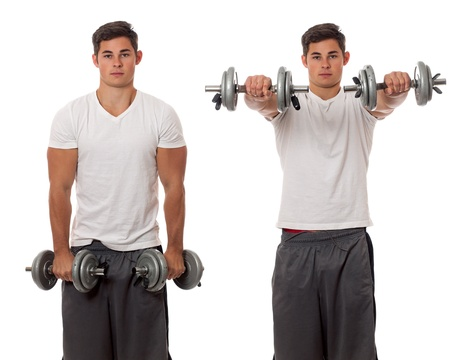 front raise: Young man lifting weights. Studio shot over white. Stock Photo