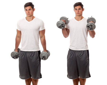 curls: Young man lifting weights  Studio shot over white