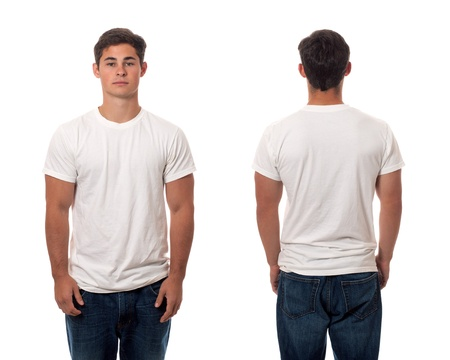 white clothing: Casual young man. Studio shot over white. Stock Photo