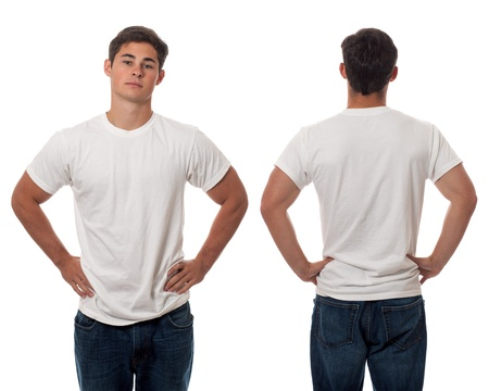 fit man: Casual young man. Studio shot over white. Stock Photo