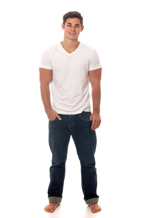 Casual young man. Studio shot over white. Banque d'images