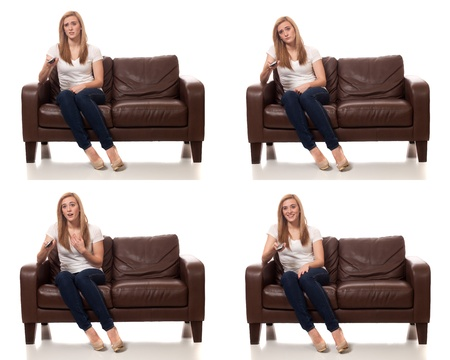 tele: Young Woman Watching Television Stock Photo