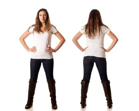 Casual young woman front and back. Studio shot over white. photo