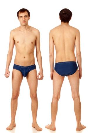 Man in swimwear. Studio shot over white. Stock Photo