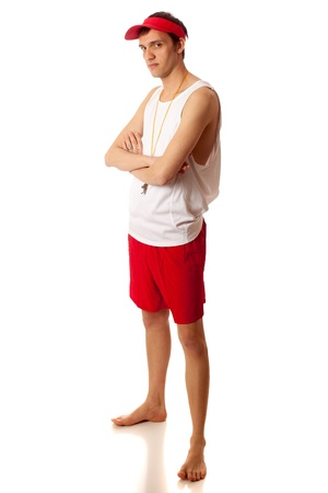 Young adult male lifeguard. Studio shot over white.