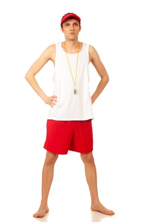 board shorts: Young adult male lifeguard. Studio shot over white.