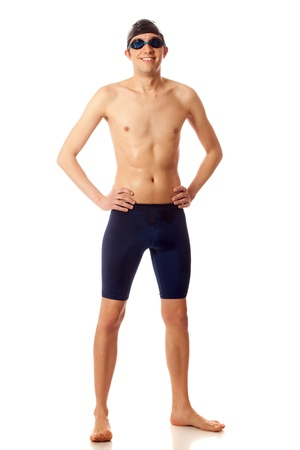 Young adult male swimmer. Studio shot over white. Stok Fotoğraf