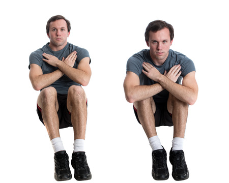 young adult man: Young adult man doing sit ups. Studio shot over white.
